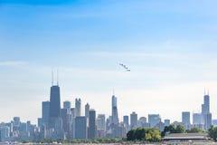 Выставка воздуха и воды Чикаго, ангелы Американского флота голубые Стоковое Фото