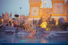 Выставка на королевской церемонии кремации короля Bhumibol Adulyadej Его Величество, земли Sanam Luang церемониальной, Бангкока,  Стоковые Изображения