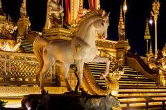 Выставка на королевской церемонии кремации короля Bhumibol Adulyadej Его Величество, земли Sanam Luang церемониальной, Бангкока,  Стоковое Изображение RF