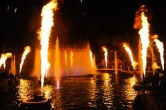 Выставка огня в парке океана Гонконга Стоковые Фото