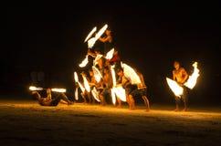 Выставка огня на Koh Samet, Таиланде. Стоковое фото RF