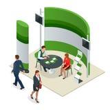 Выставка рекламы стоит состав модель-макета 3D для агенства рекрутства или агенств путешествия Вектор равновеликий бесплатная иллюстрация