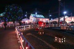 Выставка света деревни рождества Стоковые Изображения