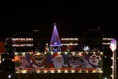 Выставка света деревни рождества Стоковое фото RF