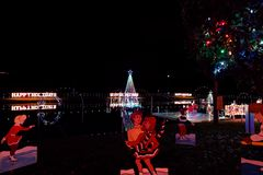 Выставка света деревни рождества Стоковое Изображение