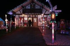 Выставка света деревни рождества ` s Koziar Стоковое Изображение