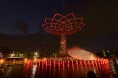 Выставка света ночи на дереве жизни 12, милан 2015 ЭКСПО Стоковое Изображение RF