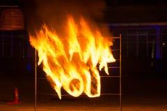 Выставка танца огня стоковая фотография