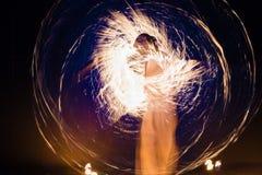 Выставка танцев огня Стоковое фото RF