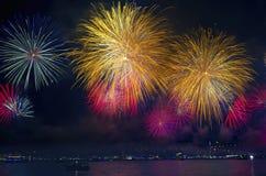 Выставка фейерверков пролива Стамбула Стоковое Фото