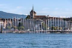 Выставка фонтана на озере Женев Женева, Швейцария Стоковое фото RF