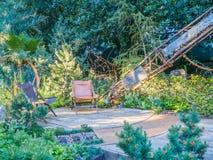 Выставка цветов 2017 RHS Челси Красивый дисплей садов ремесленника для выставки Стоковое фото RF