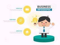Выставка шаржа бизнесмена его дизайн f шаблона идей infographic стоковые изображения rf