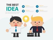 Выставка шаржа бизнесмена его дизайн f шаблона идей infographic стоковая фотография rf