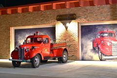 выставка firetruck пожара двигателя старая Стоковая Фотография RF