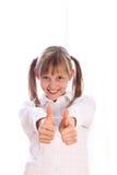 выставки отрезков провода девушки thumbs 2 вверх по детенышам Стоковое Изображение