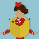 Выставки Stewardess как использовать спасательный жилет Стоковые Фото