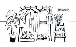 Выставочный зал иллюстрации вектора Покройте шкаф с одеждами, сумками, коробками и ботинками, модой, современным стилем Стоковое фото RF