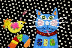Выстеганные птица и кот Стоковая Фотография