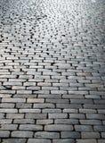 выстилка cobbles блока влажная Стоковое Фото