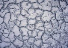 Высушенная и треснутая земля, треснутая поверхность, сухая почва в засушливых областях Стоковая Фотография RF