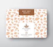 Высушенная картонная коробка ягод плодов Абстрактным контейнер в оболочке вектором бумажный с крышкой ярлыка Комплексное конструи иллюстрация штока