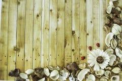 Высушенная конспектом рамка цветка на винтажной деревянной предпосылке Стоковая Фотография RF