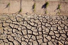 Высушенная почва глины рва полива в Albufera fields стоковое изображение