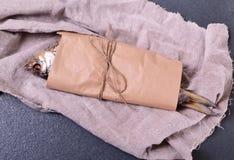 Высушенная плотва рыб обернутая в коричневой бумаге ремесла Стоковая Фотография RF
