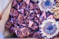Высушенная wedding предпосылка букета цветка роз поднимающее вверх букета близкое Стоковая Фотография RF