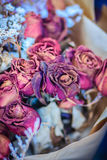 Высушенная wedding предпосылка букета цветка роз поднимающее вверх букета близкое Стоковое Изображение RF