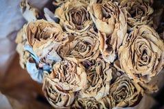 Высушенная wedding предпосылка букета цветка роз поднимающее вверх букета близкое Стоковое Изображение