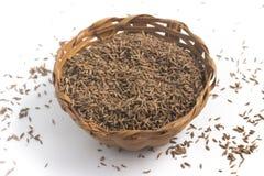 Высушенное семя фенхеля в корзину Стоковые Фото