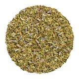 Высушенное Herbes de Провансаль, круг травы сверху, сверх белая стоковая фотография