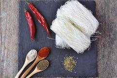 Высушенные лапши риса, азиатская еда, Стоковые Фото