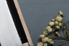 Высушенные бежевые розы На фоне текстуры серой ткани грубой Рядом деревянная коробка, покрашенная в белизне стоковая фотография