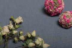 Высушенные бежевые розы На фоне текстуры серой ткани грубой Рядом 2 декоративных шарика высушенной травы  стоковые изображения