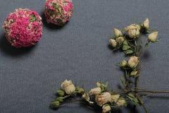 Высушенные бежевые розы На фоне текстуры серой ткани грубой Рядом 2 декоративных шарика высушенной травы  стоковое изображение