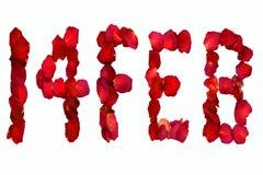 Высушенные лепестки розы говоря по буквам вне, 14-ое февраля Стоковое фото RF