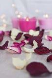Высушенные лепестки розы, Bokeh и свечи Стоковая Фотография RF