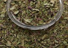 Высушенные листья душицы в шаре Стоковая Фотография