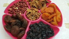Высушенные плоды, арахисы и изюминки стоковая фотография rf