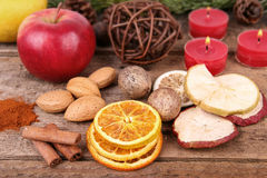 Высушенные плодоовощи с гайками и свечами Стоковое Изображение RF