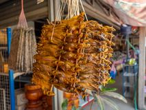 Высушенные рыбы для продажи на обочине Лаос Стоковое Изображение