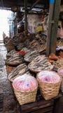 Высушенные рыбы на азиатском рынке Стоковая Фотография