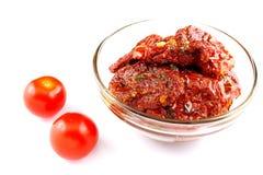 высушенные томаты оливки масла Стоковое Изображение