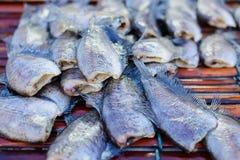 Высушенные fishs местной еды на открытом рыбном базаре Таиланде Стоковые Изображения