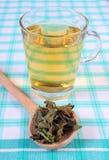 Высушенный бальзам лимона с ложкой и стеклом травяного питья на скатерти стоковые изображения
