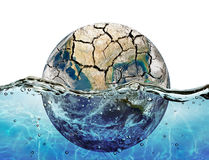 Высушенный вверх по планете погруженной в водах Мирового океана Стоковая Фотография RF