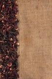 Высушенный гибискус цветет лож лепестков на дерюге Стоковые Фотографии RF